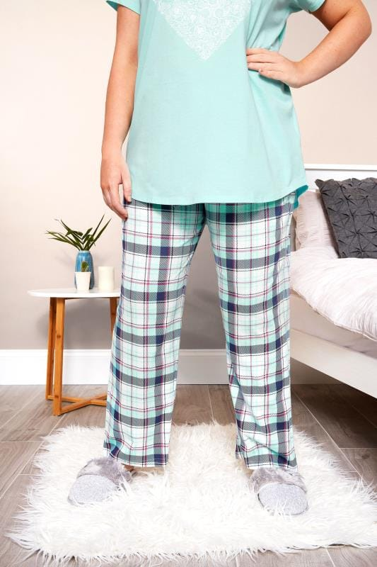 Plus Size Pajamas Turquoise Check Pyjama Bottoms