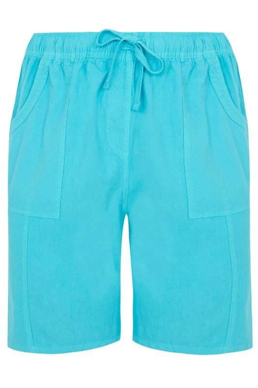 Plus Size Cool Cotton Shorts Turquoise Cool Cotton Pull On Shorts