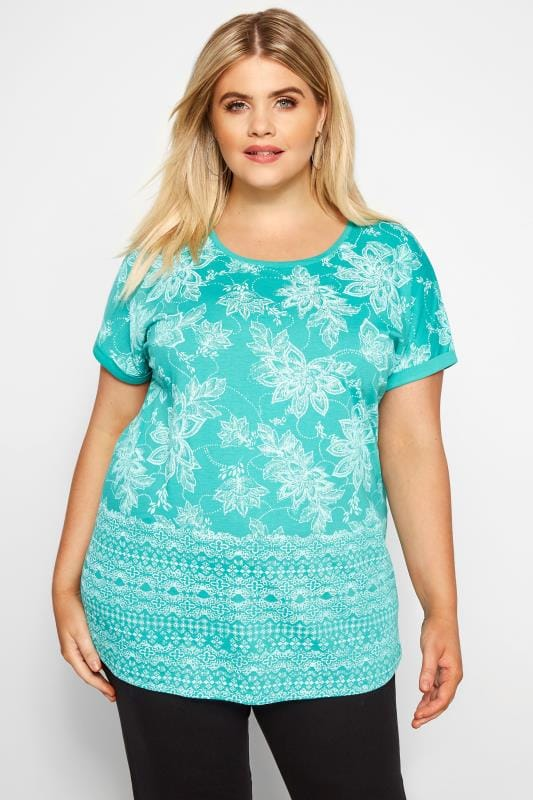 Plus Size T-Shirts Turquoise Floral Border T-Shirt