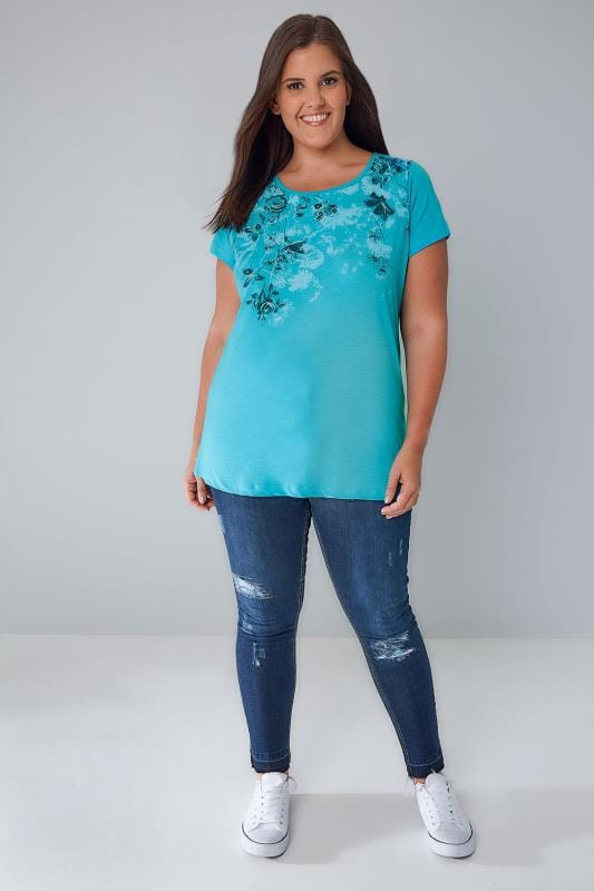 Turquoise Floral Rose Print T-Shirt With Curved Hem