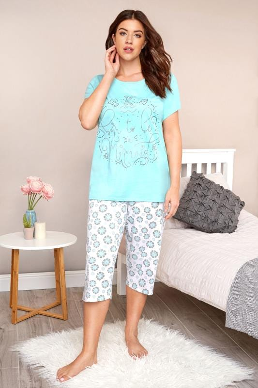 Plus Size Pajamas Turquoise Mermaid Slogan Cropped Pyjama Set