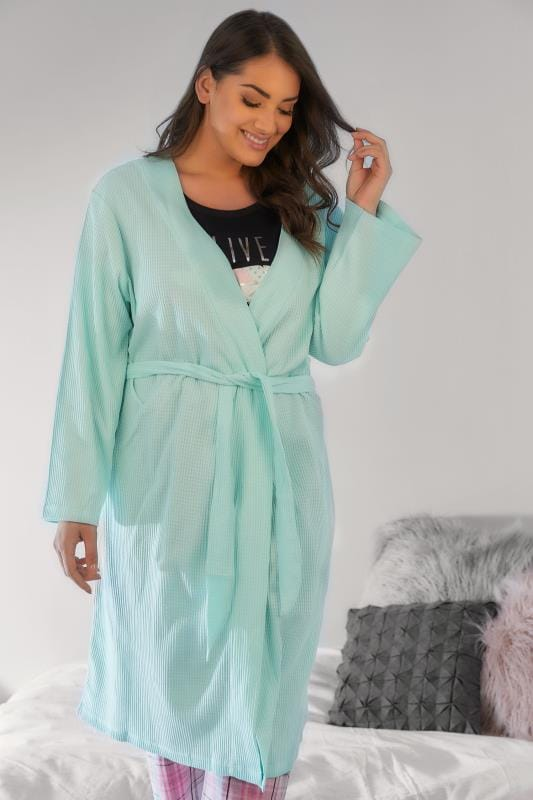 Mint Green Textured Cotton Dressing Gown With Pockets