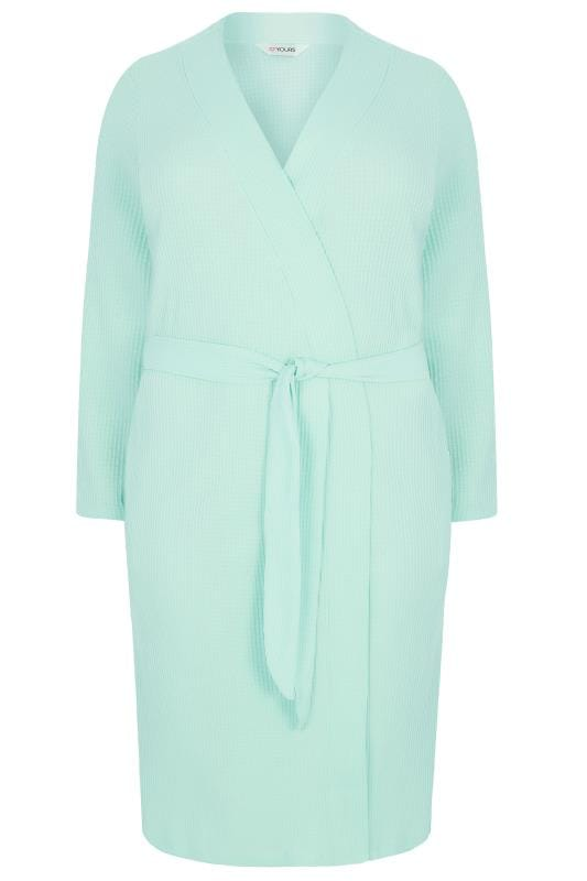 Mint Green Textured Cotton Dressing Gown With Pockets, Plus size 16 ...
