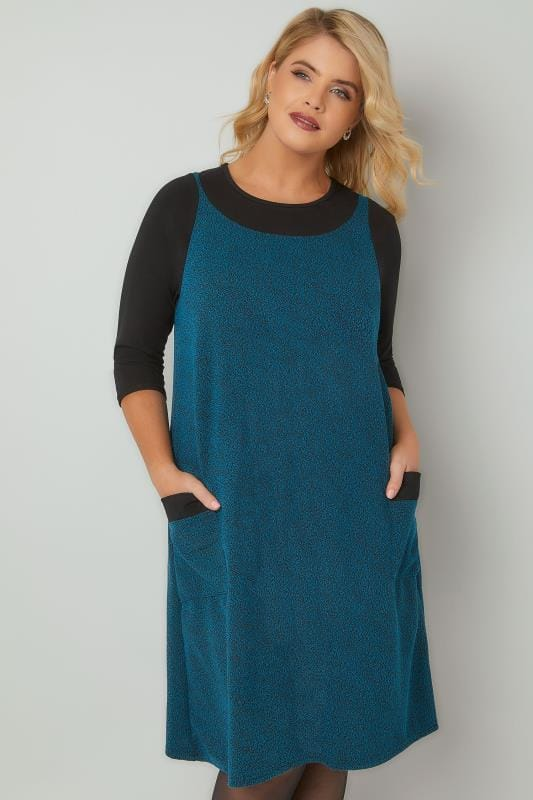 Midi Dresses Turquoise Textured Mock Pinafore Dress With Two Pockets 170350