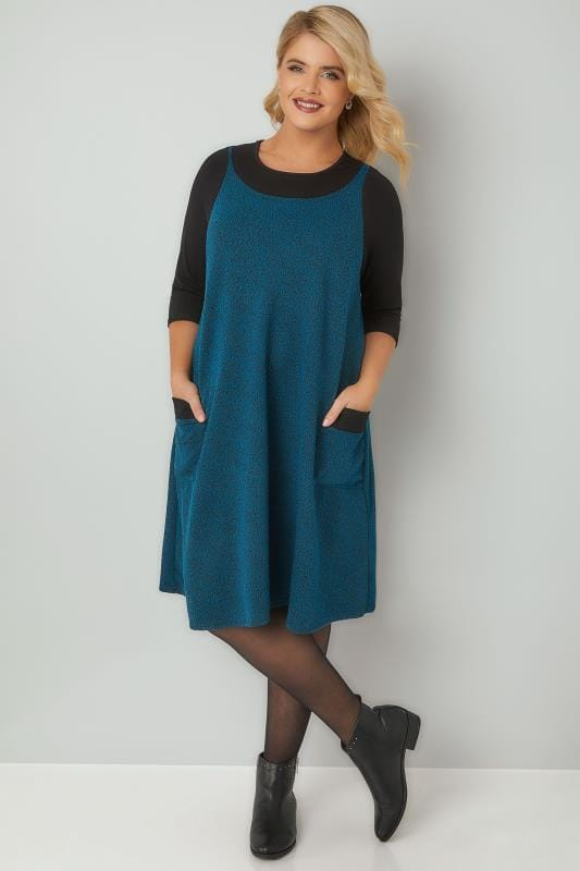 Turquoise Textured Mock Pinafore Dress With Two Pockets