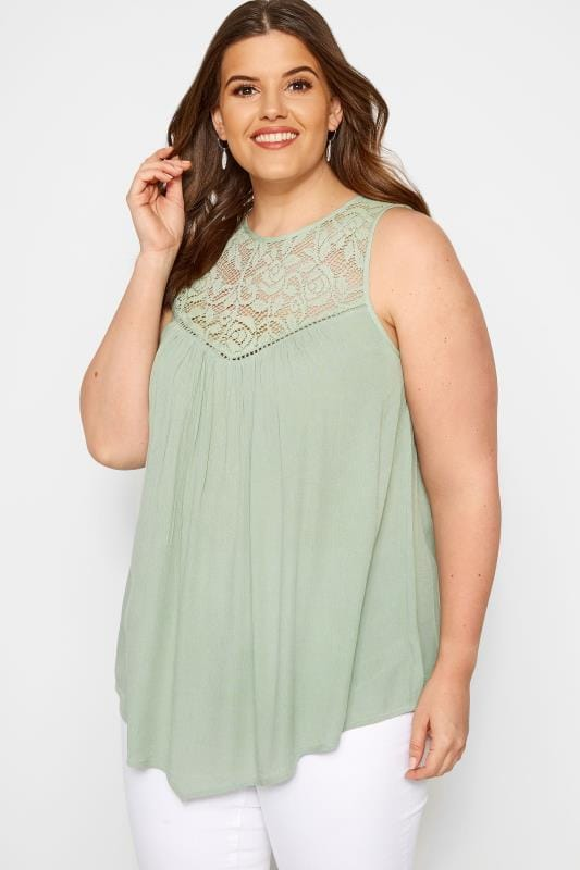 66d24848349 Khaki Lace Vest Top | Sizes 16-36 | Yours Clothing