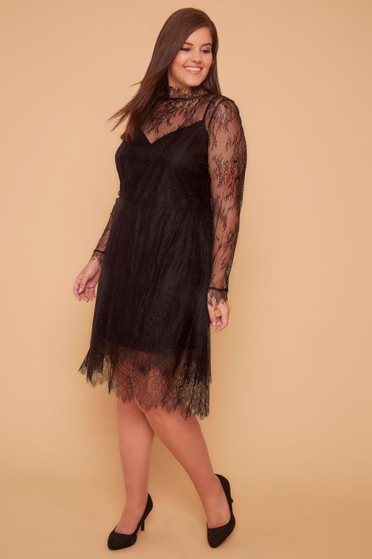 WOLF & WHISTLE Black Eyelash Lace High Neck Dress