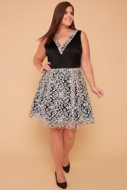 WOLF & WHISTLE Black & Ivory Dress With Floral Embroidered Mesh Skirt