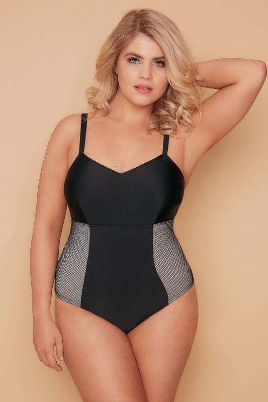 WOLF & WHISTLE Black Mesh Paneled Swimsuit