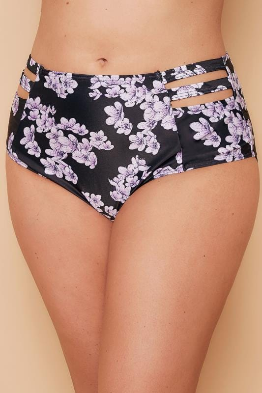 Bikinis & Tankinis WOLF & WHISTLE Black & Purple Floral Print Bikini Bottoms With Cage Detail 138235
