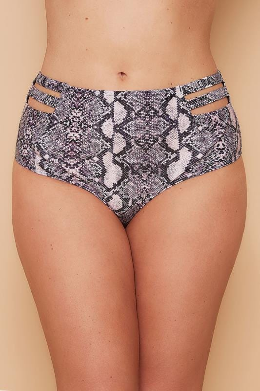 WOLF & WHISTLE Black & Purple Snake Print Bikini Bottoms With Cage Detail