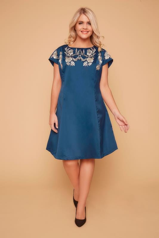 WOLF & WHISTLE Blue & Pink Embroidered Dress With Cap Sleeves