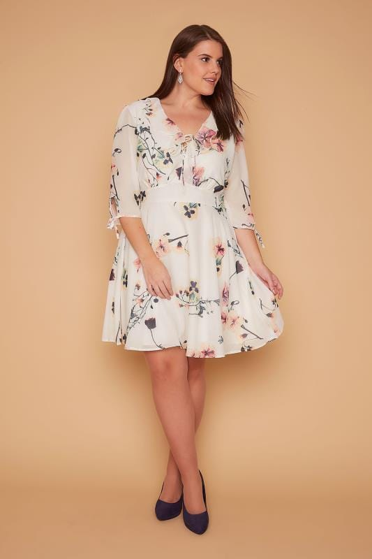 Soiree WOLF & WHISTLE Ivory Floral Print Tea Dress With Ruffle Lace Up Neckline 138344