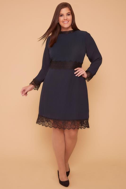 Party Dresses WOLF & WHISTLE Navy High Neck Dress With Pleated Skirt & Eyelash Lace Trim 138369