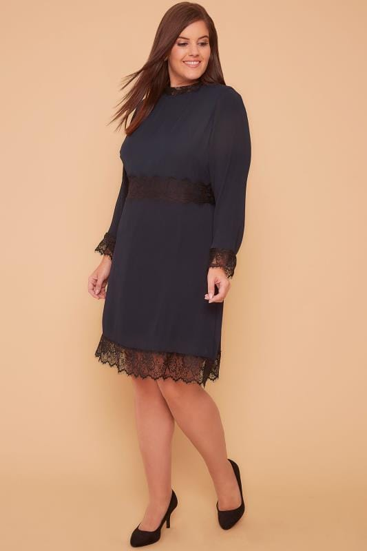 WOLF & WHISTLE Navy High Neck Dress With Pleated Skirt & Eyelash Lace Trim