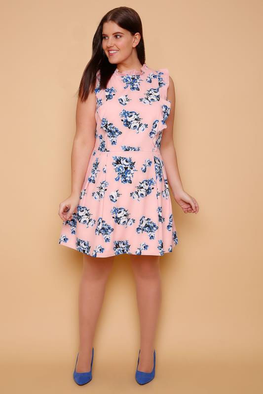 WOLF & WHISTLE Pink & Blue Floral Fully Lined Frill Skater Dress