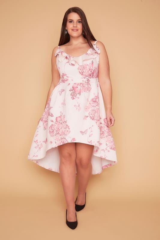 WOLF & WHISTLE Pink Floral Frill Strappy Dress With Dip Hem