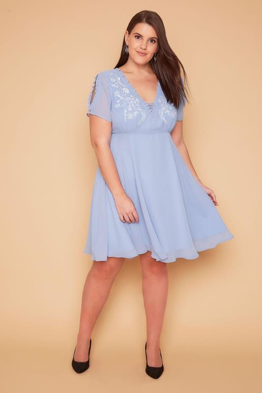 Plus Size Party Dresses WOLF & WHISTLE Powder Blue Lace Up Embroidered Cold Shoulder Dress