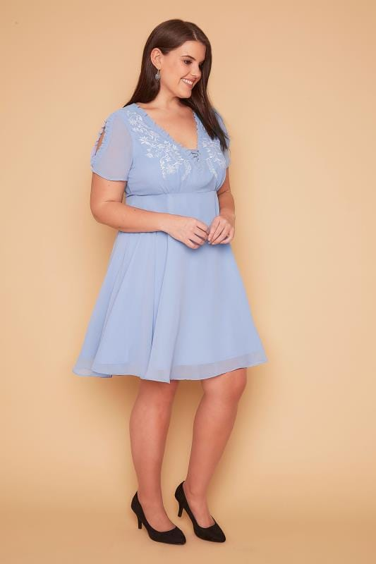 WOLF & WHISTLE Powder Blue Lace Up Embroidered Cold Shoulder Dress