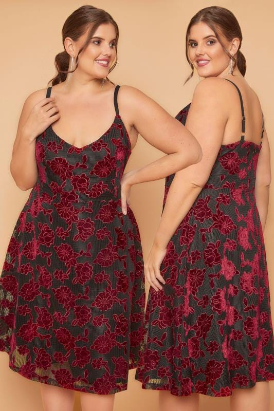 WOLF & WHISTLE Red & Black Floral Velvet Mesh Cami Dress With Adjustable Straps