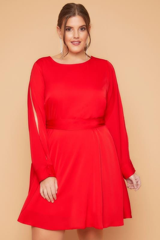 WOLF & WHISTLE Red Dress With Belted Waist & Open Sleeves