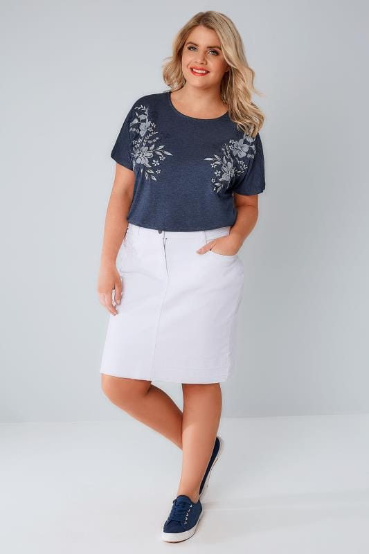 White 5 Pocket Denim Skirt With Raw Hem