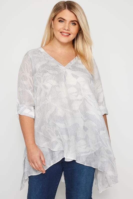 Plus Size Blouses White Abstract Print Layered Blouse