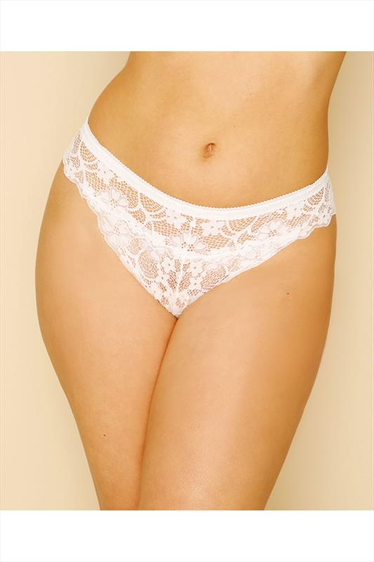 Plus Size Thongs White All Lace Thong