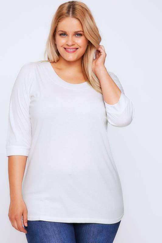 Grande taille  T-Shirts Basiques & Débardeurs  White Band Scoop Neckline T-Shirt With 3/4 Sleeves