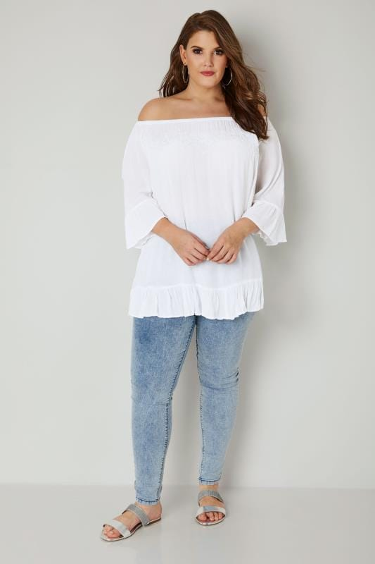 White Bardot Gypsy Top With Beaded Details & Flute Sleeves