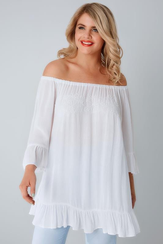 Plus Size Longline Tops White Bardot Gypsy Top With Beaded Details & Flute Sleeves