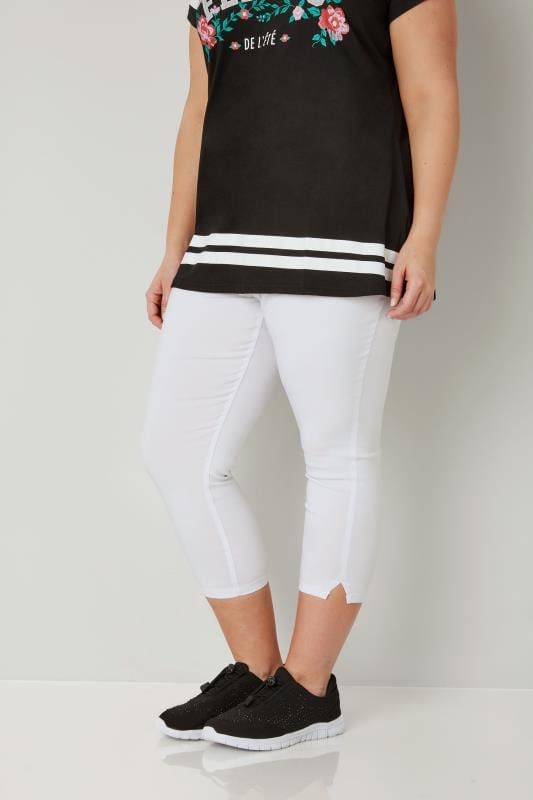 Plus Size Cropped Trousers White Bengaline Cropped Pull On Trousers