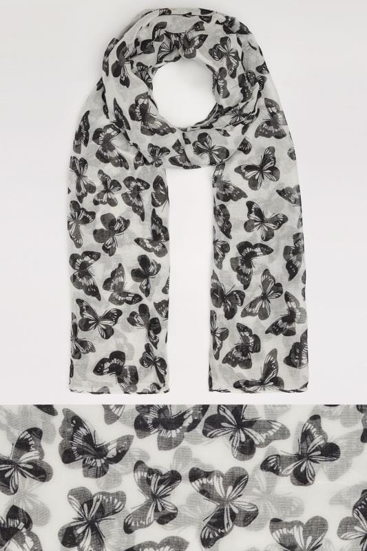 White & Black Butterfly Print Scarf