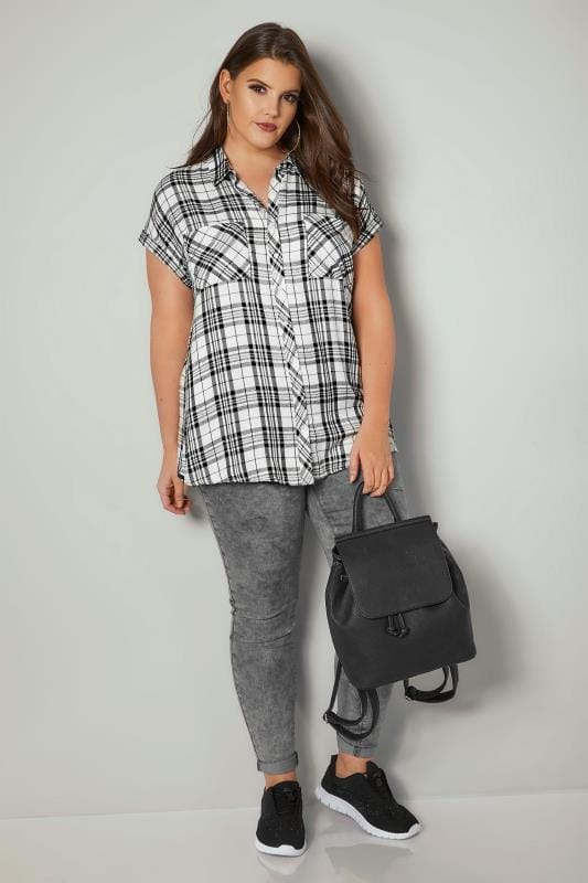 White & Black Checked Shirt With Short Grown-On Sleeves & Metallic Detail