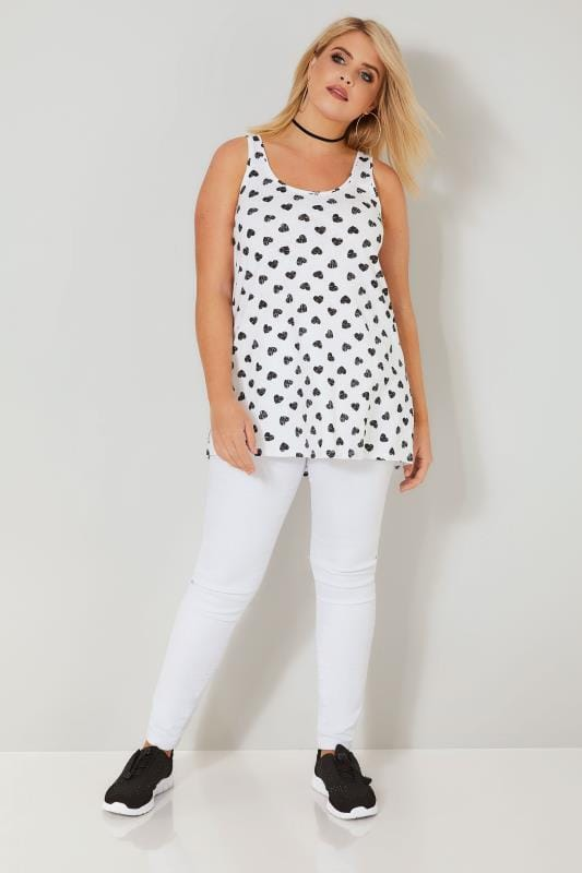 White & Black Heart Print Vest Top