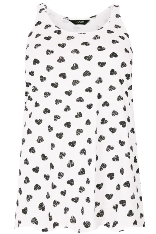 Plus Size Vests & Camis White & Black Heart Print Vest Top