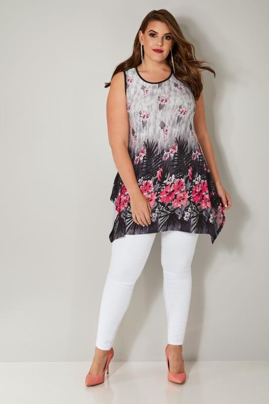 White, Black & Pink Sleeveless Palm Swing Top With Hanky Hem