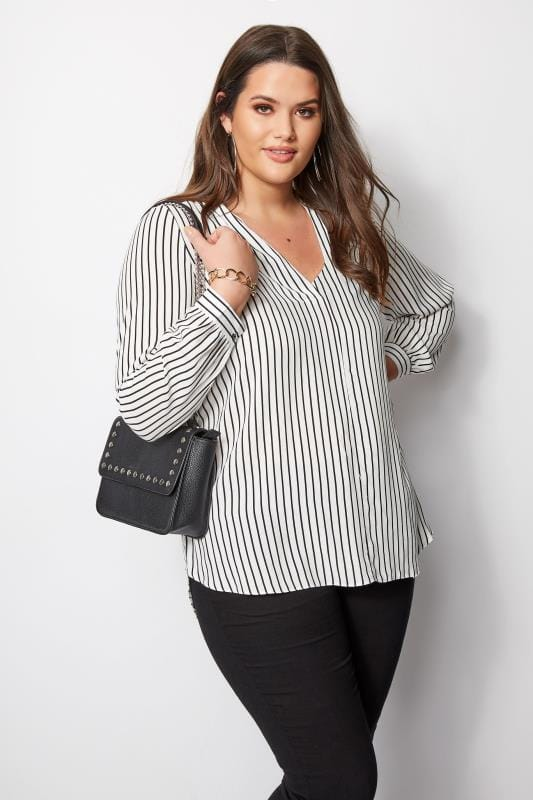 Plus Size Blouses White & Black Stripe Blouse