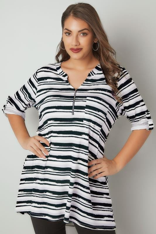 White & Black Striped Longline Top With Zip Front
