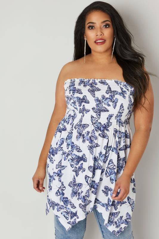 White & Blue Butterfly Print Bandeau Top With Hanky Hem