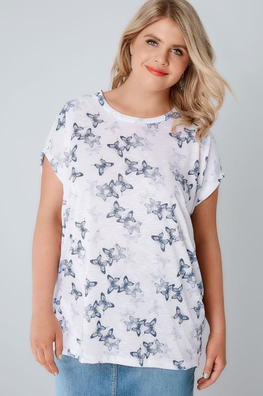 White & Blue Butterfly Print Burnout T-Shirt