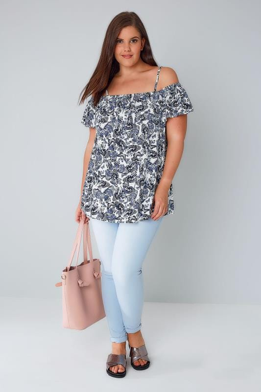 White & Blue Butterfly Print Frilled Cold Shoulder Jersey Cami Top