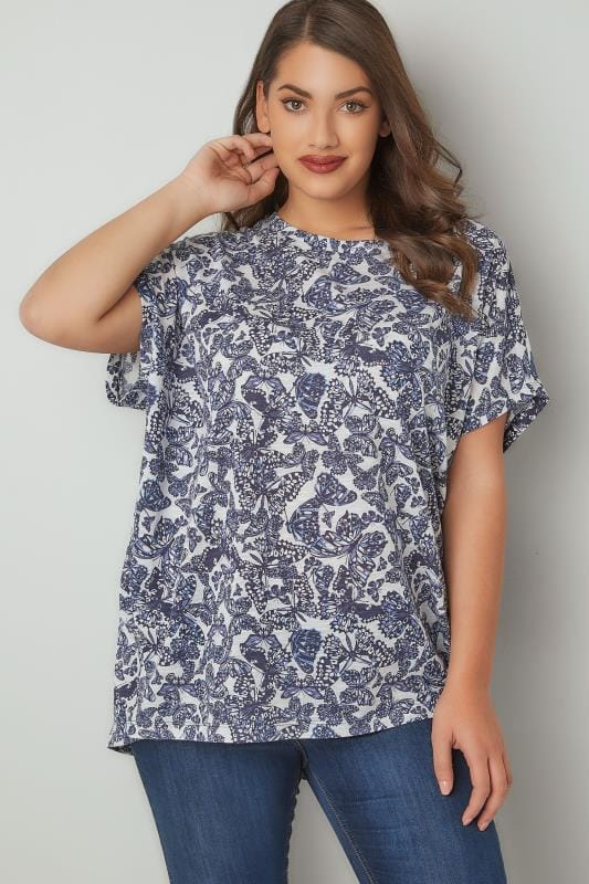White & Blue Butterfly Print Oversized Top With Grown-On Sleeves