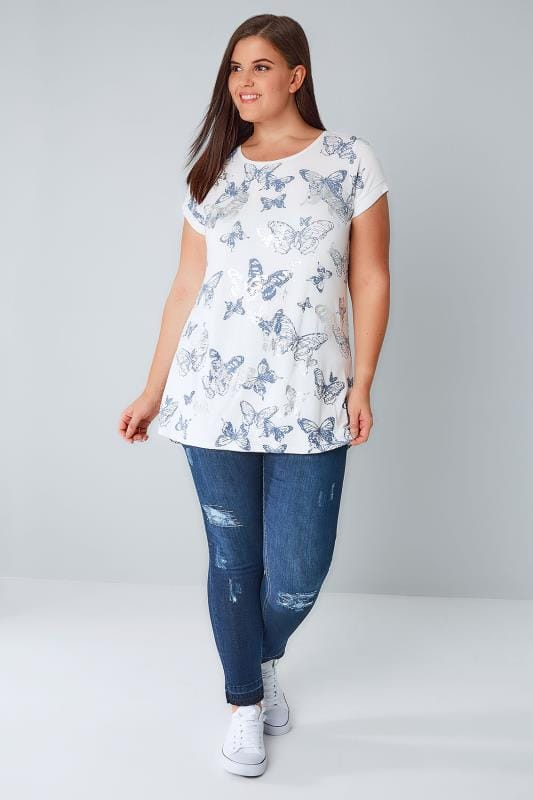 White & Blue Butterfly Print T-Shirt With Silver Foil Detail
