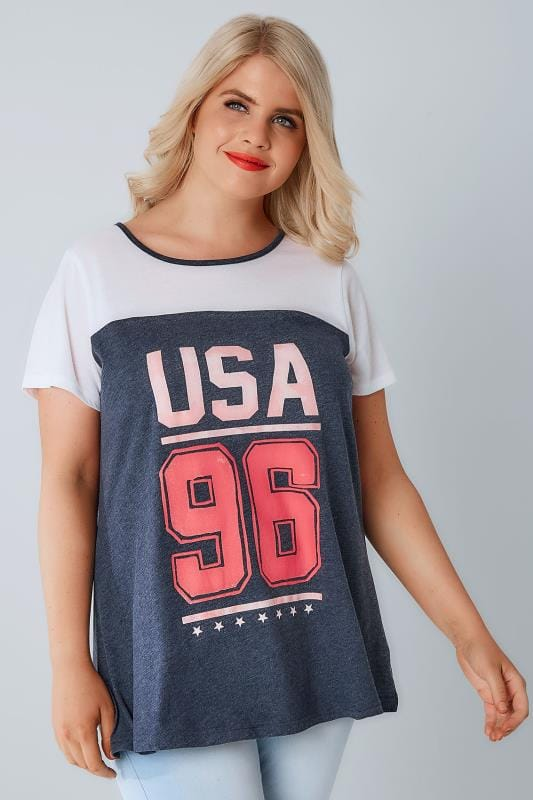 White & Denim Blue 'USA 96' T-Shirt