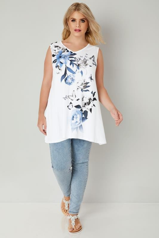 White & Blue Embellished Floral Lily Print Swing Top