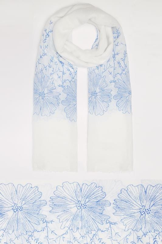 White & Blue Floral Embroidered Scarf