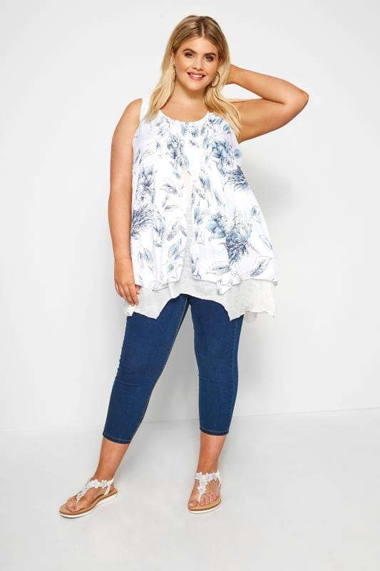 White & Blue Floral Layered Blouse