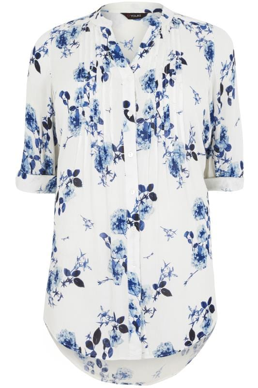 White & Blue Floral Pintuck Longline Blouse With Beading Detail