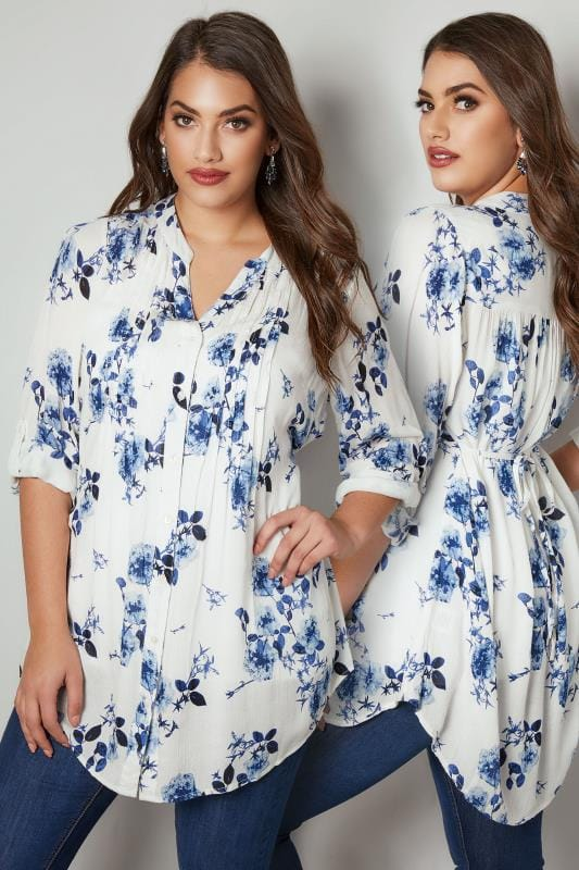 Plus Size Shirts White & Blue Floral Pintuck Longline Blouse With Beading Detail